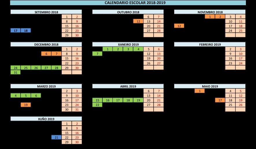 Calendario Escolar Xunta.Calendario Escolar 2018 19 Portovello Cifp Ourense